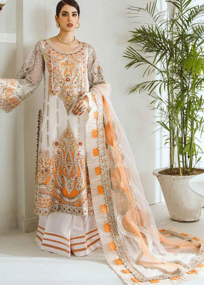 Maryum N Maria Embroidered Net Suits Unstitched 3 Piece MNM21LC MFD0003 FIRE PEARL - Luxury Collection