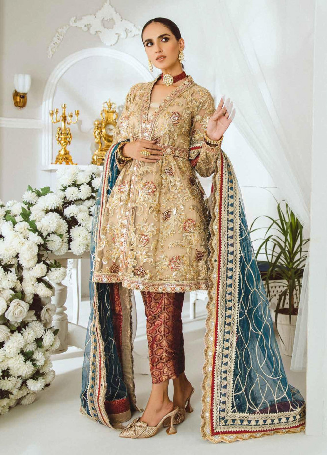 Maryum N Maria Embroidered Net Suits Unstitched 3 Piece MNM21LC MFP0001 INSTANTLY CALMER - Luxury Collection