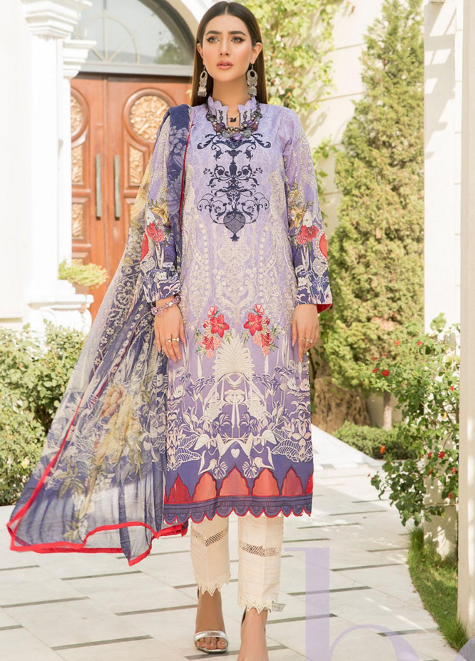 Maryam's Embroidered Lawn Suits Unstitched 3 Piece MRM21FL ML-102 - Summer Collection