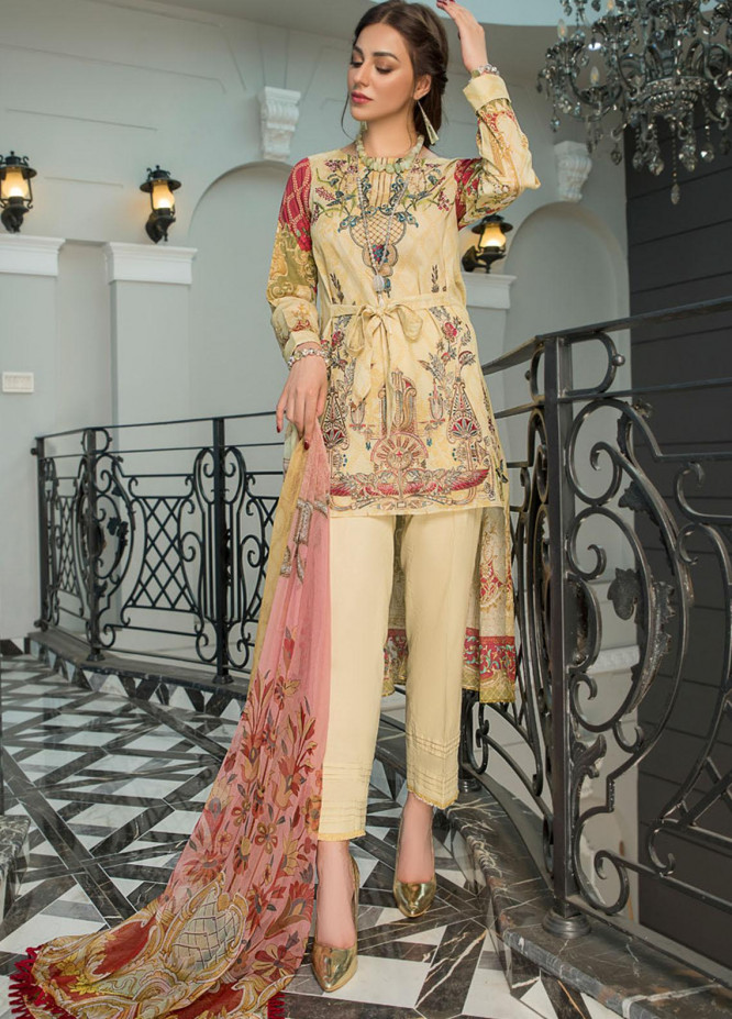 Maryam's Embroidered Lawn Suits Unstitched 3 Piece MRM21FL ML-103 - Summer Collection