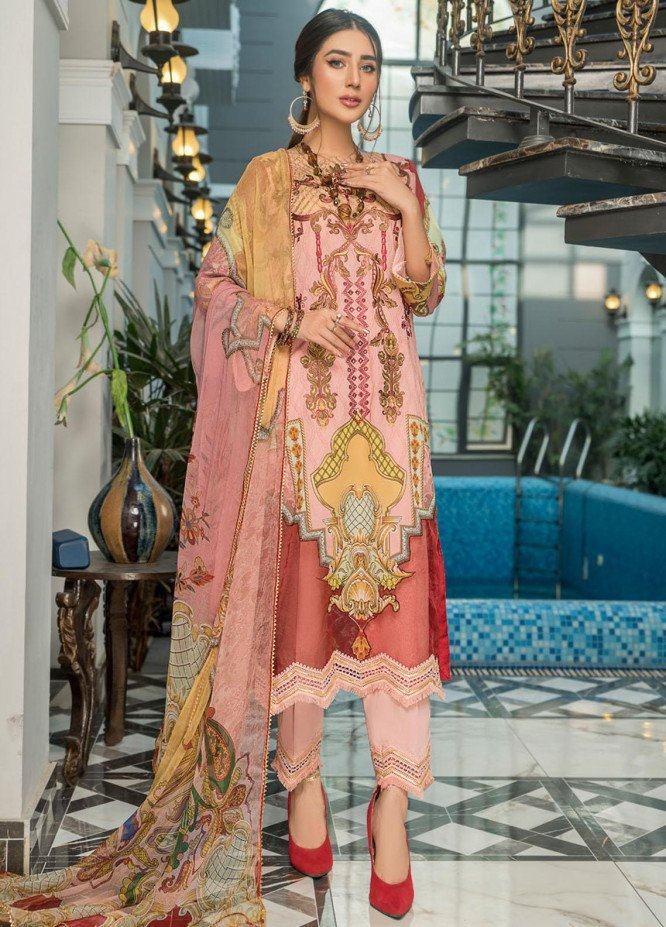 Maryam's Embroidered Lawn Suits Unstitched 3 Piece MRM21FL ML-107 - Summer Collection