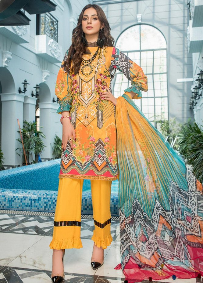 Maryam's Embroidered Lawn Suits Unstitched 3 Piece MRM21FL ML-109 - Summer Collection