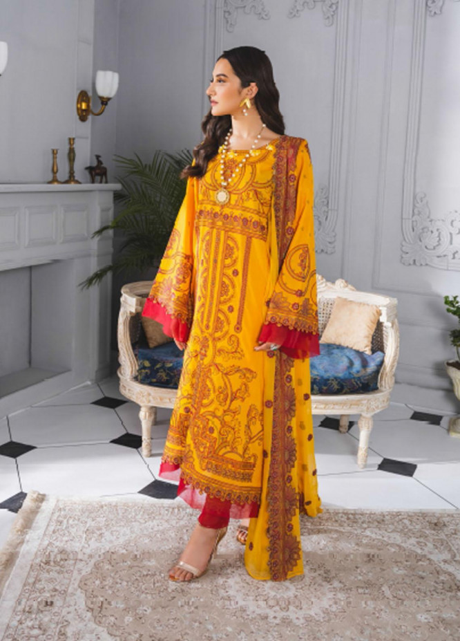 Maryum N Maria Embroidered Lawn Suits Unstitched 3 Piece MNM21F 202 Dusk Hour - Festive Collection