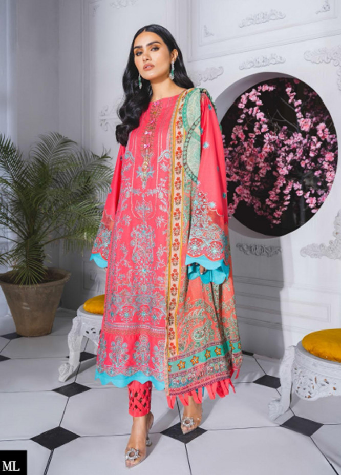 Maryum N Maria Embroidered Lawn Suits Unstitched 3 Piece MNM21F 205 Pink Time - Festive Collection