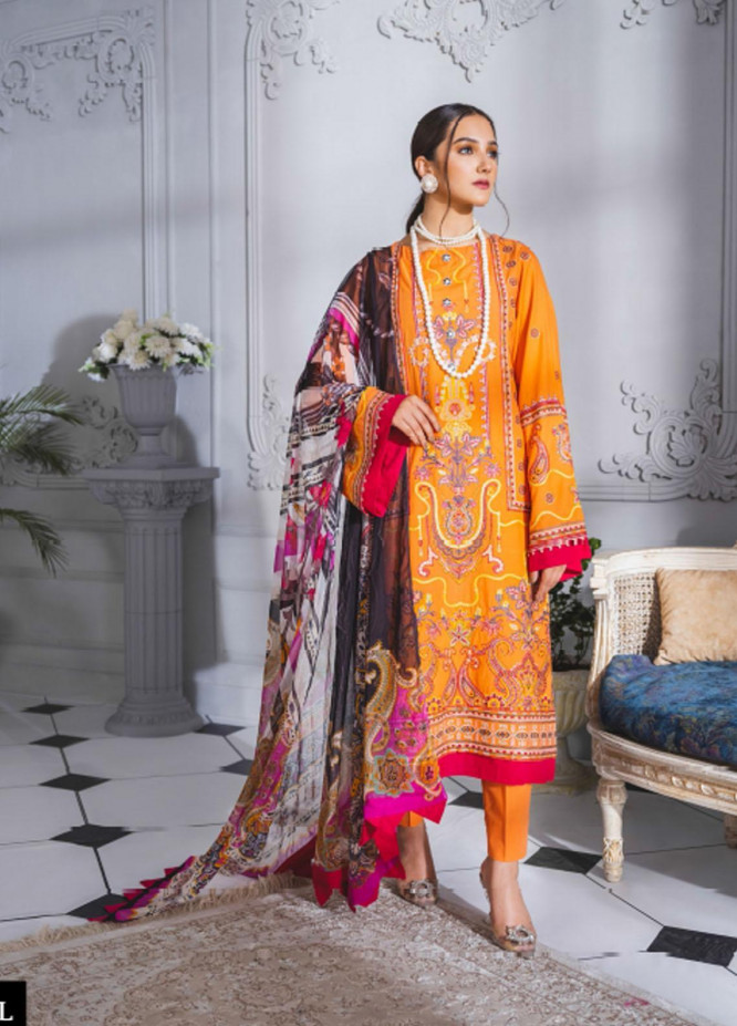 Maryum N Maria Embroidered Lawn Suits Unstitched 3 Piece MNM21F 208 Evening Tale - Festive Collection