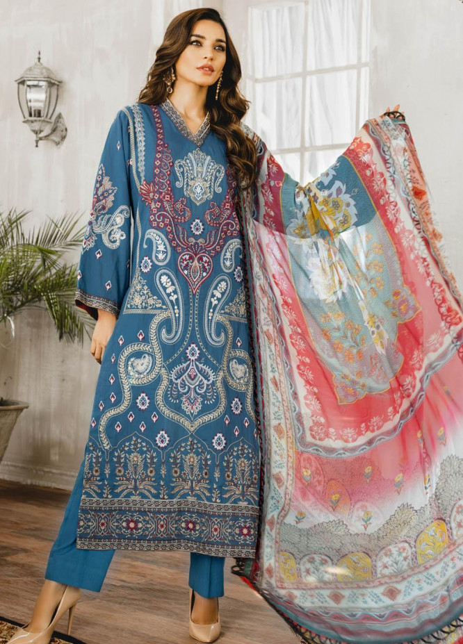 Maryum N Maria Embroidered Lawn Suits Unstitched 3 Piece MNM21L 03 Mussuil - Luxury Collection