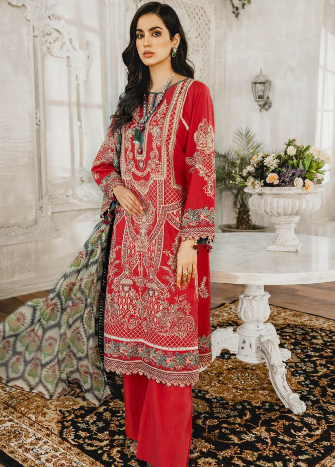 Maryum N Maria Embroidered Lawn Suits Unstitched 3 Piece MNM21L 10 Romantine - Luxury Collection