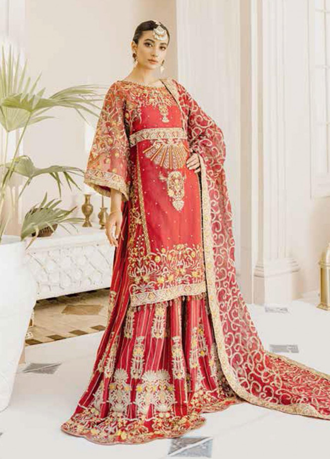 Mashq Embroidered Organza Unstitched 3 Piece Suit MAQ21P 10 RED & RED - Premium Collection