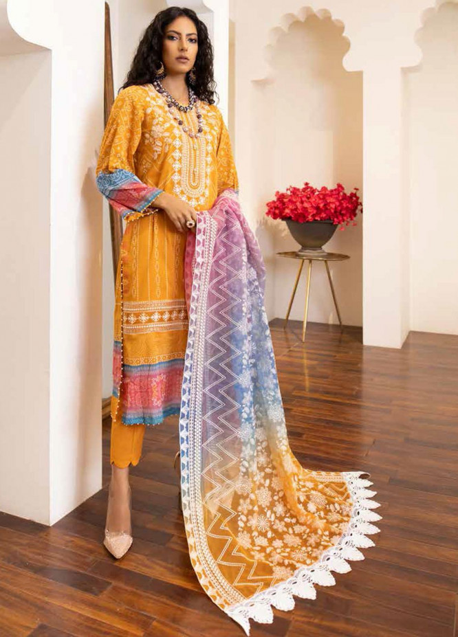 Maya by Nureh Embroidered Lawn Suits Unstitched 3 Piece NU21ML 14 - Summer Collection
