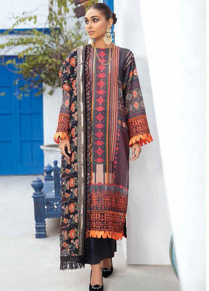 Maya By Nureh Embroidered Lawn Unstitched 3 Piece Suit N21MW 20 Black Seent - Summer Collection