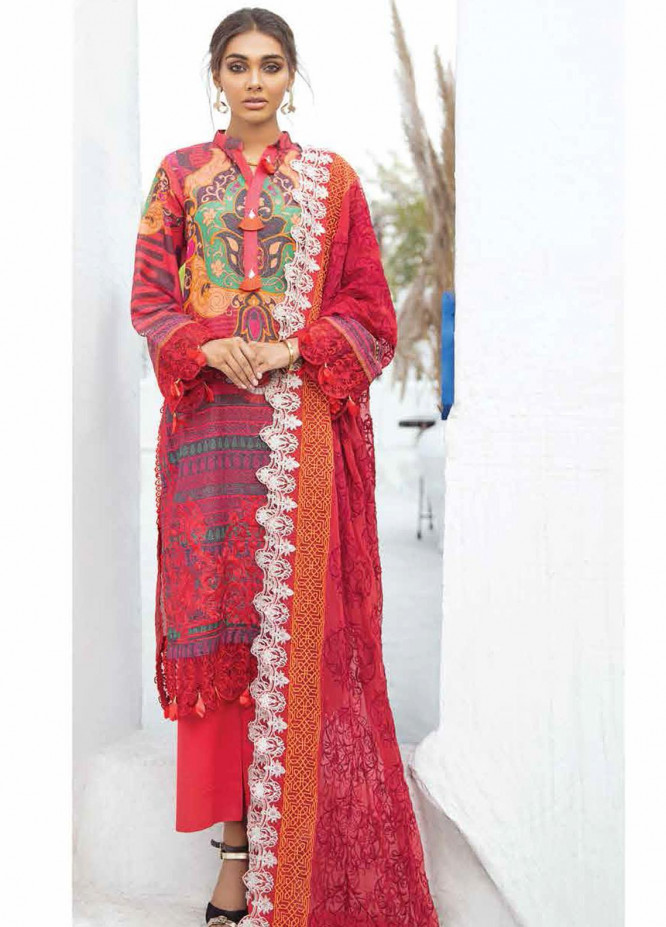 Maya By Nureh Embroidered Lawn Unstitched 3 Piece Suit N21MW 21 Tropical Red - Summer Collection