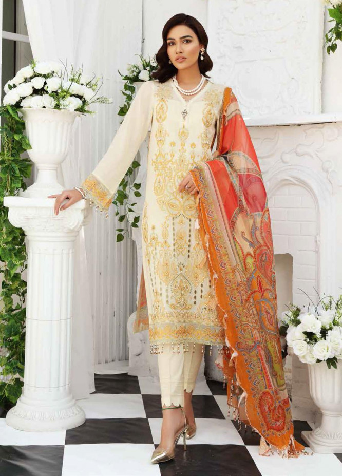 Maya by Nureh Embroidered Lawn Unstitched 3 Piece Suit NU21M 01 Sun Kissed - Summer Collection