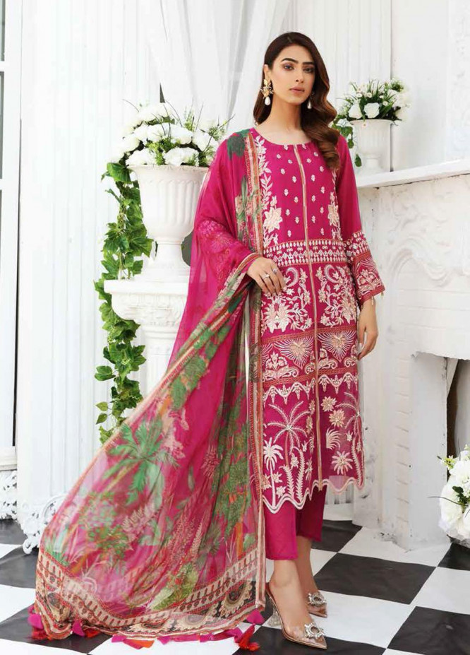Maya by Nureh Embroidered Lawn Unstitched 3 Piece Suit NU21M 02 Rose Blossom - Summer Collection