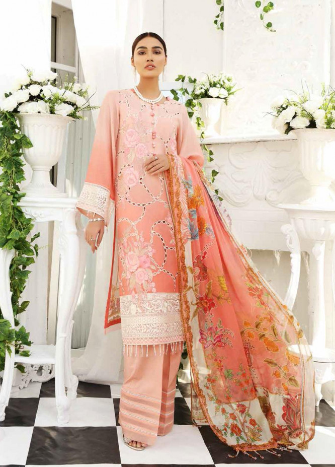 Maya by Nureh Embroidered Lawn Unstitched 3 Piece Suit NU21M 04 Peach Bloom - Summer Collection