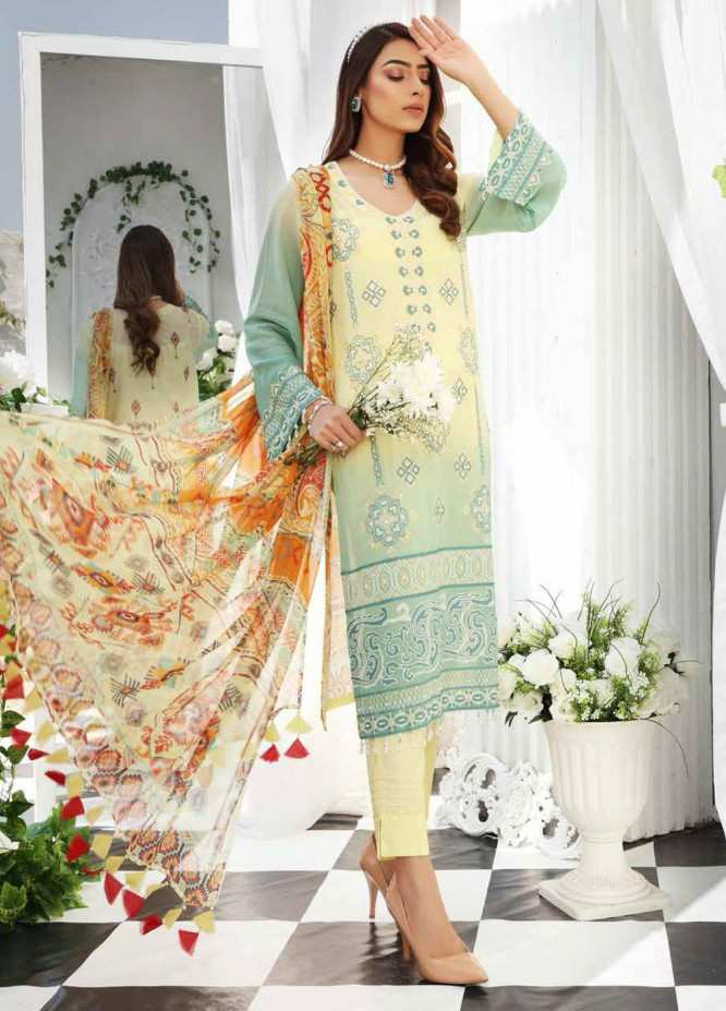 Maya by Nureh Embroidered Lawn Unstitched 3 Piece Suit NU21M 08 Fading Flower - Summer Collection