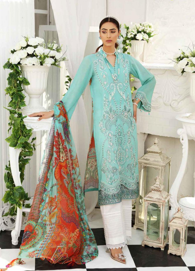 Maya by Nureh Embroidered Lawn Unstitched 3 Piece Suit NU21M 10 Aqua Stone - Summer Collection