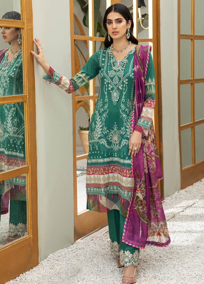 Coup De Fodre By Meeral Embroidered Lawn Suits Unstitched 3 Piece MRL21CF 05 Ultramarine Green - Luxury Collection