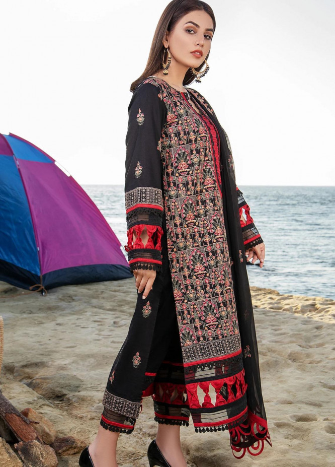 Meher-un-Nissa By Elegance Embroidered Lawn Suits Unstitched 3 Piece ELG21M 24 Black Rose - Luxury Collection