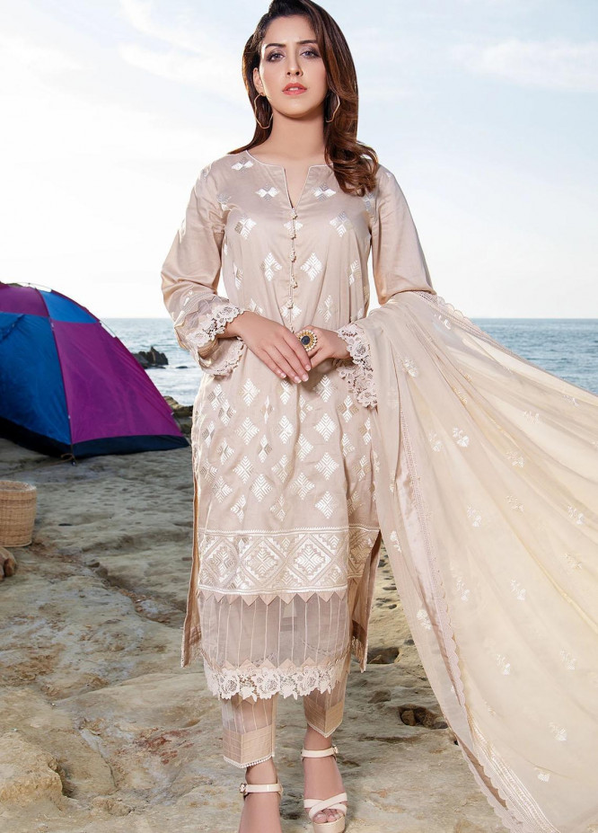 Meher-un-Nissa By Elegance Embroidered Lawn Suits Unstitched 3 Piece ELG21M 25 Jasmine - Luxury Collection