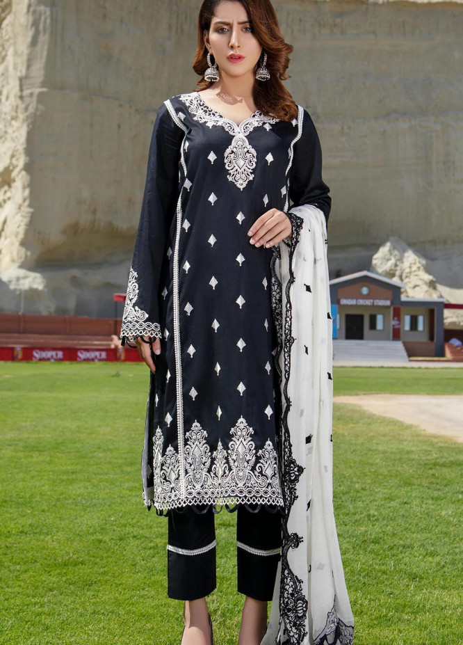 Meher-un-Nissa By Elegance Embroidered Lawn Suits Unstitched 3 Piece ELG21M 28 Obsidian - Luxury Collection