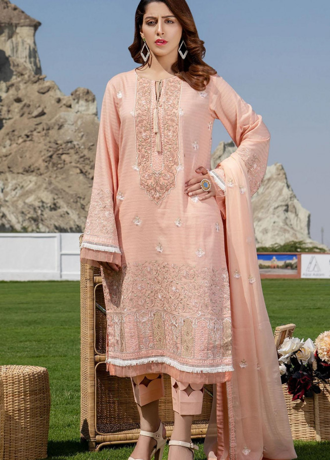 Meher-un-Nissa By Elegance Embroidered Lawn Suits Unstitched 3 Piece ELG21M 29 Zinnia - Luxury Collection