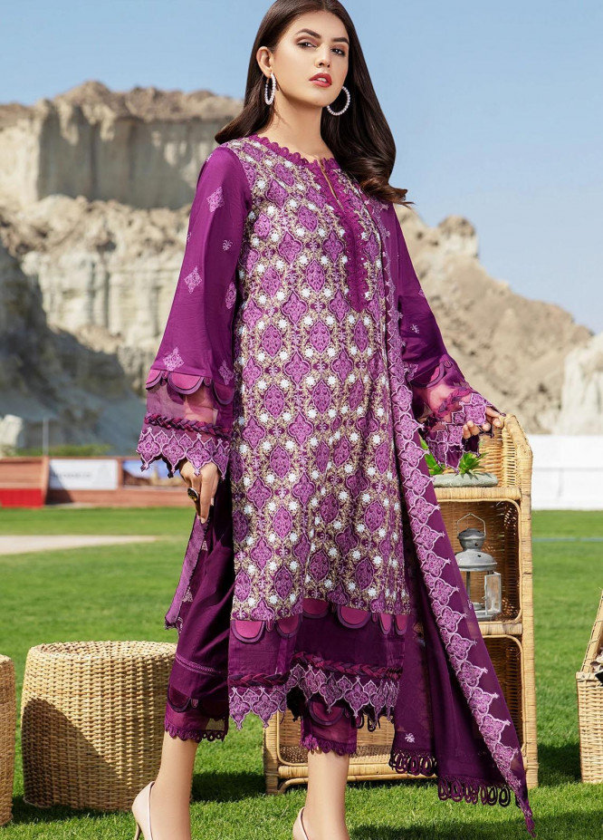 Meher-un-Nissa By Elegance Embroidered Lawn Suits Unstitched 3 Piece ELG21M 30 Plum - Luxury Collection