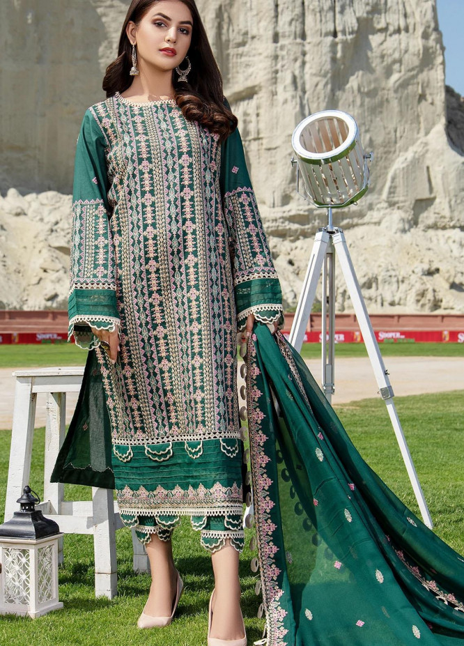Meher-un-Nissa By Elegance Embroidered Lawn Suits Unstitched 3 Piece ELG21M 31 Emeralda - Luxury Collection