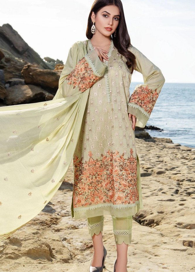 Meher-un-Nissa By Elegance Embroidered Lawn Suits Unstitched 3 Piece ELG21M 32 Olivine - Luxury Collection
