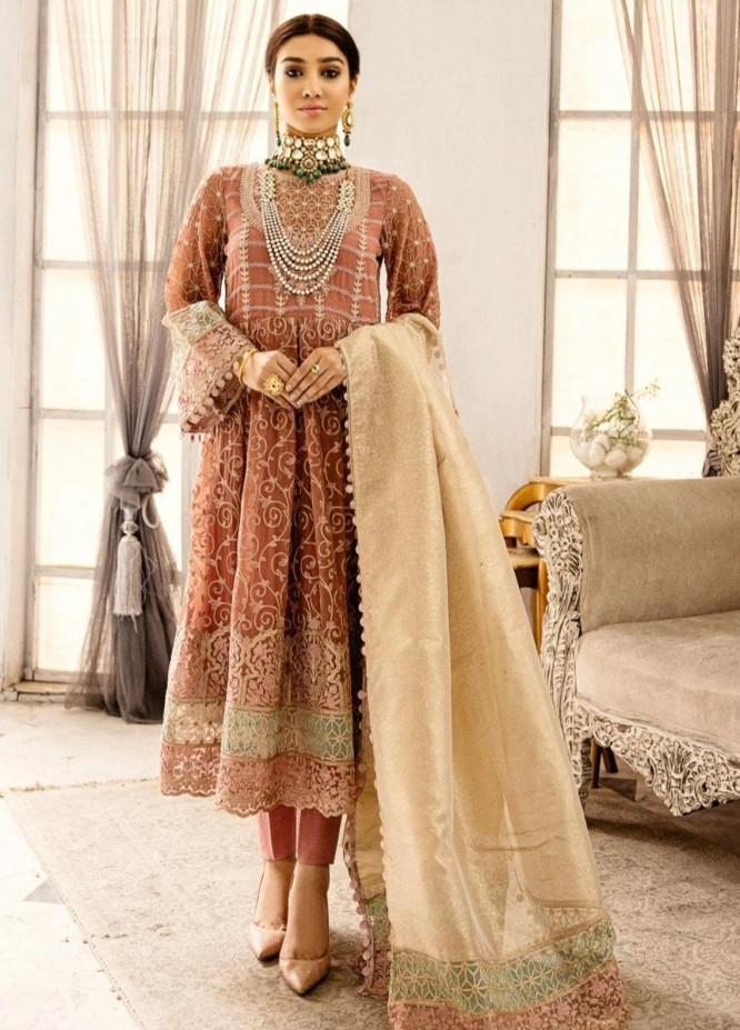 Meherma by Mohagni Embroidered Chiffon Suits Unstitched 3 Piece MO21MHR MGA-21-16 - Luxury Collection