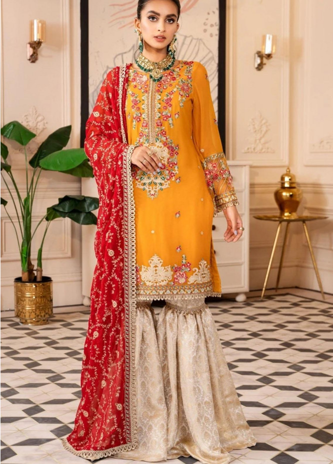 Virsa by Mohagni Embroidered Chiffon Suits Unstitched 3 Piece MO21V MGA-21-27 - Luxury Collection