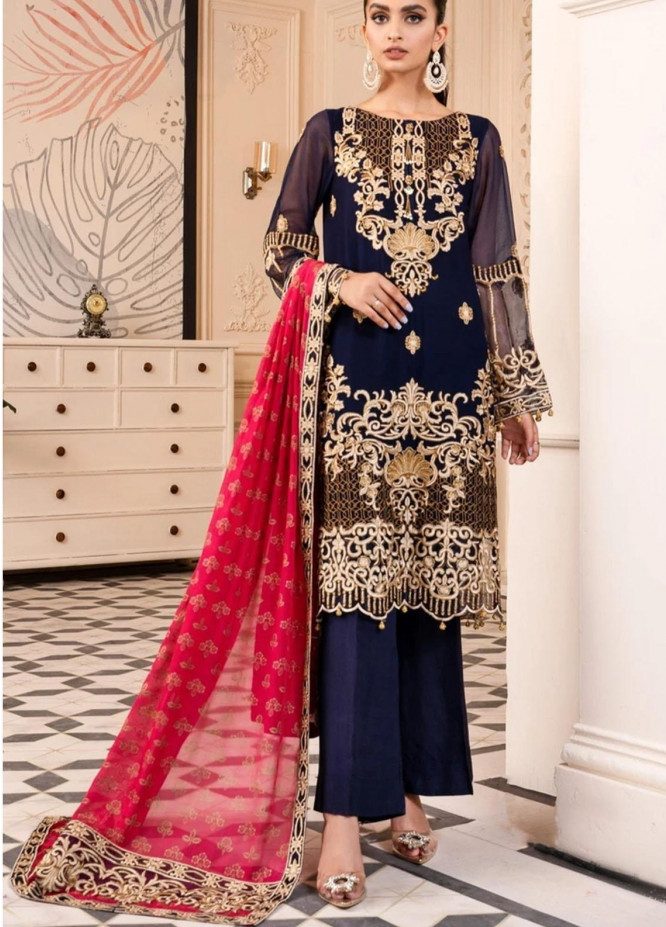 Virsa by Mohagni Embroidered Chiffon Suits Unstitched 3 Piece MO21V MGA-21-28 - Luxury Collection