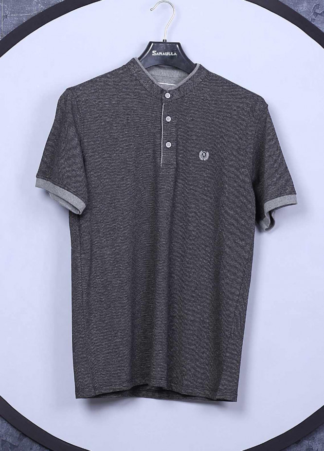 Sanaulla Exclusive Range Cotton Casual T-Shirts for Mens -  5035 Dark Grey
