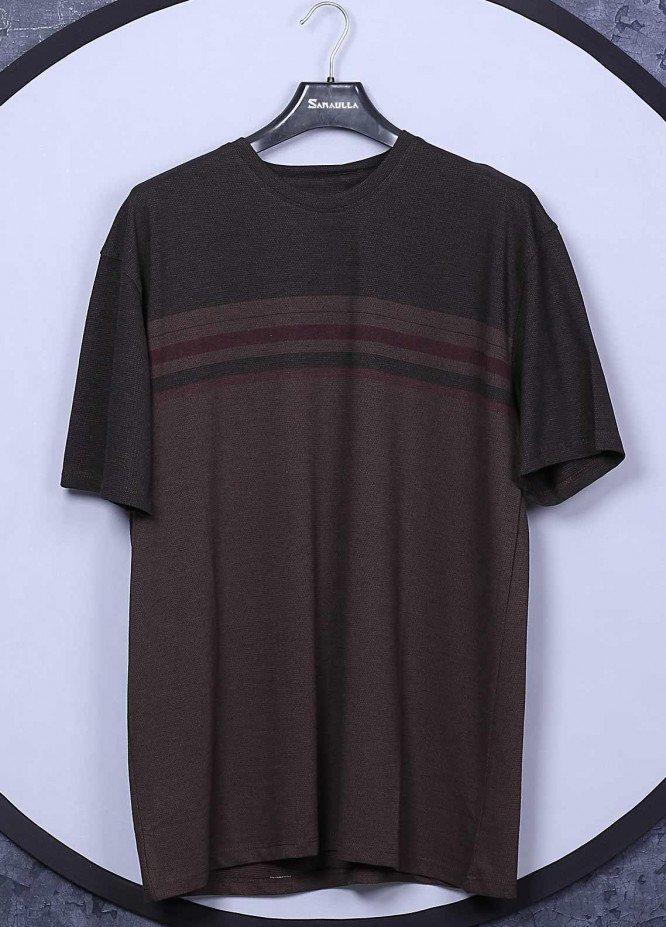 Sanaulla Exclusive Range Cotton Casual Mens T-Shirts -  5043 Brown