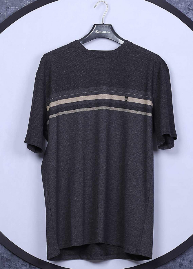 Sanaulla Exclusive Range Cotton Casual T-Shirts for Mens -  5043 Dark Grey
