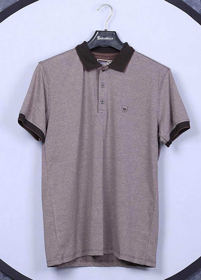 Sanaulla Exclusive Range Cotton Casual T-Shirts for Mens -  5107 Light Brown