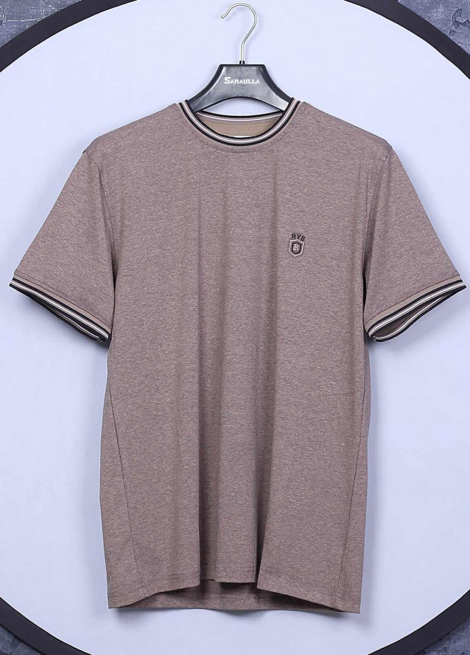 Sanaulla Exclusive Range Cotton Casual Mens T-Shirts -  5309 Light Brown