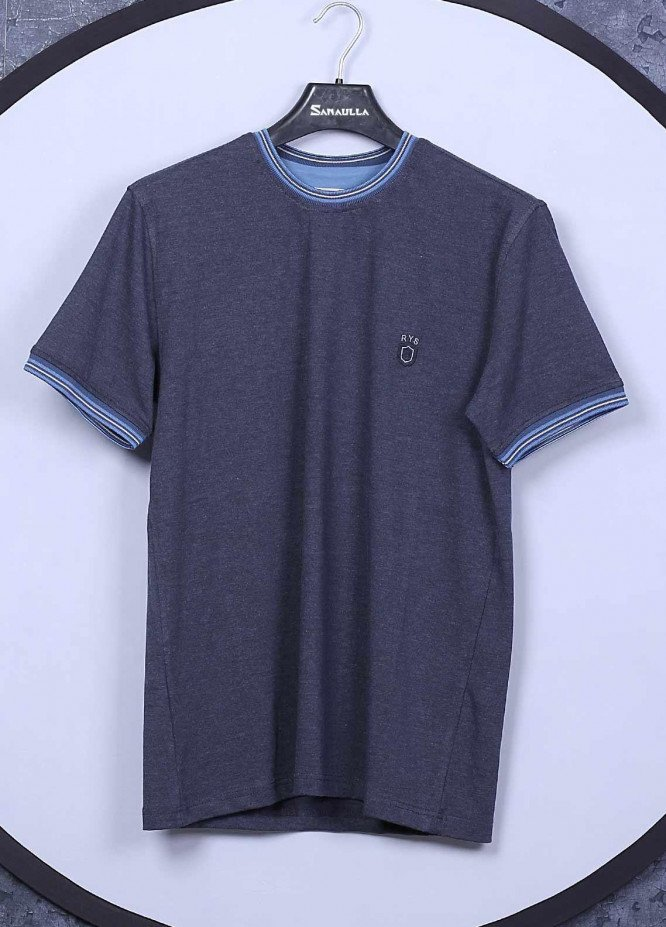 Sanaulla Exclusive Range Cotton Casual T-Shirts for Mens - 5309 Light Grey