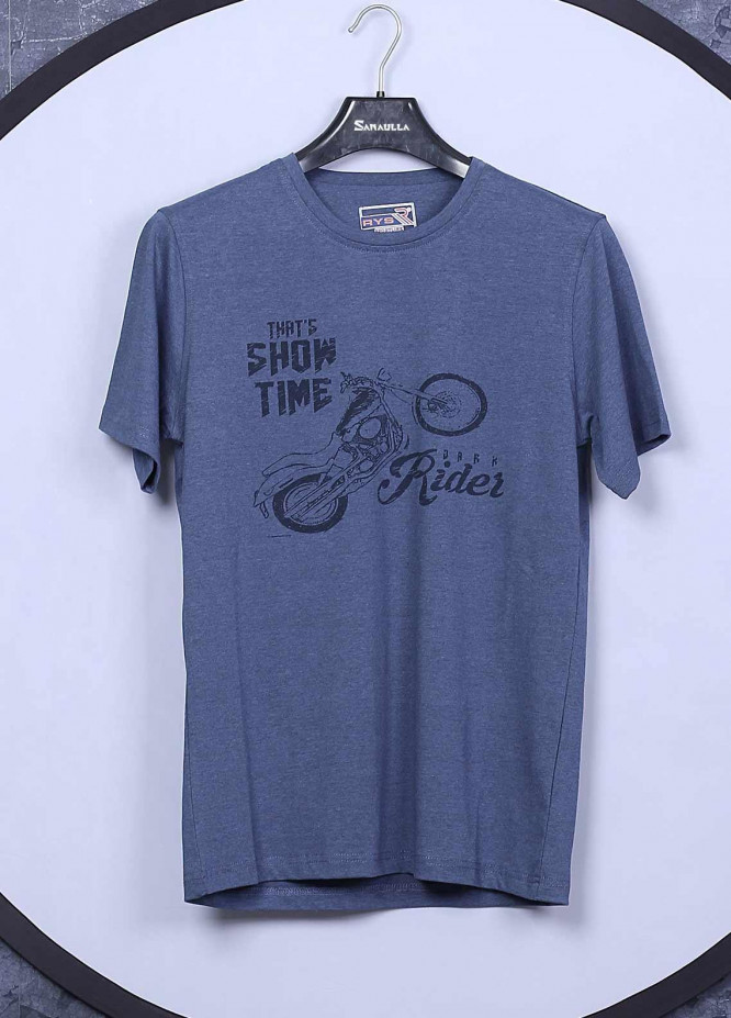 Sanaulla Exclusive Range Cotton Casual Mens T-Shirts -  5396 Blue