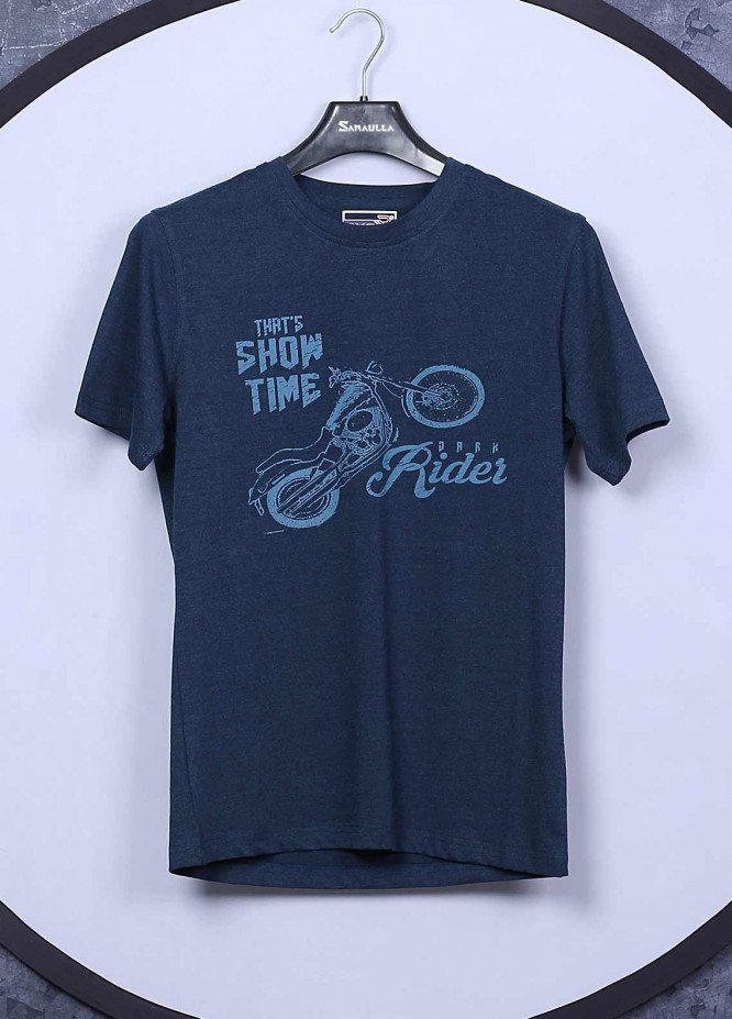 Sanaulla Exclusive Range Cotton Casual Mens T-Shirts -  5396 Dark Blue