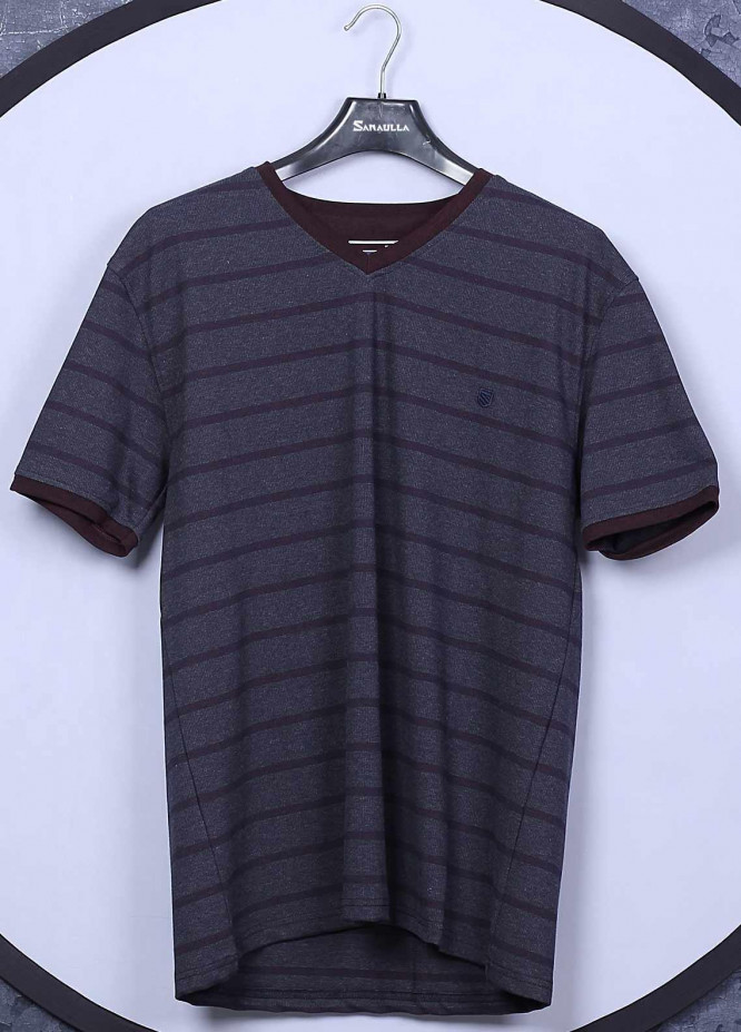 Sanaulla Exclusive Range Cotton Casual T-Shirts for Mens - 5407 Dark Grey