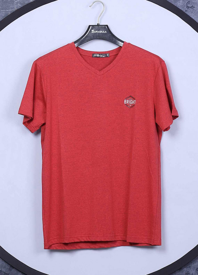 Sanaulla Exclusive Range Cotton Casual T-Shirts for Mens -  78325 Red
