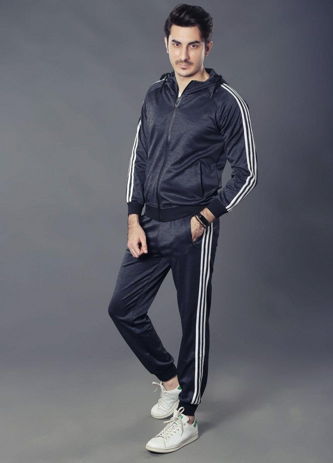 Sanaulla Exclusive Range Premium Jersey Track Suits for Men -  19-8860 Black