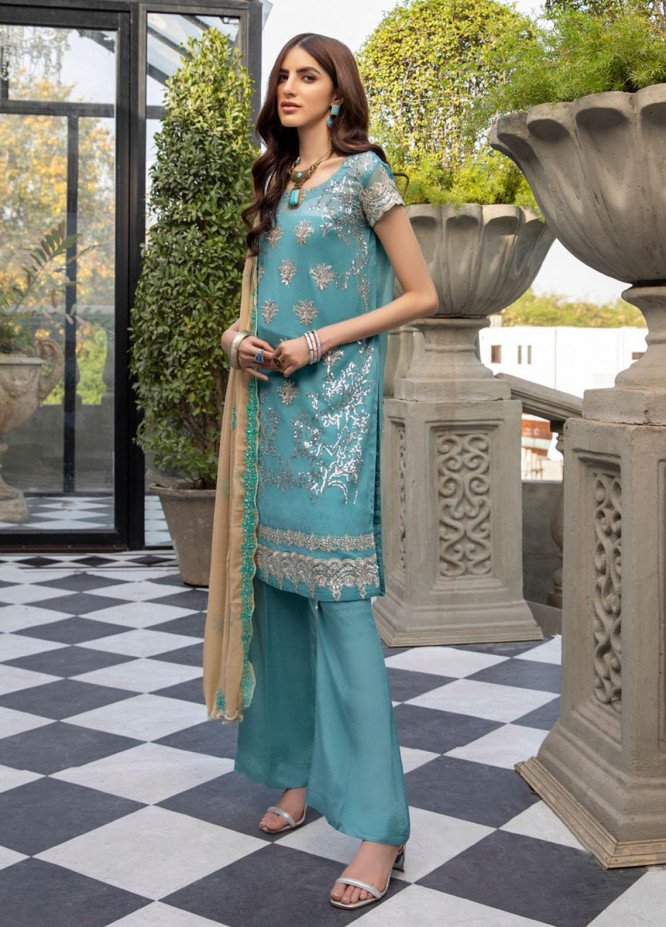 Meraki by ZS Textiles Embroidered Chiffon Suits Unstitched 3 Piece ZS21-M3 12 - Luxury Collection
