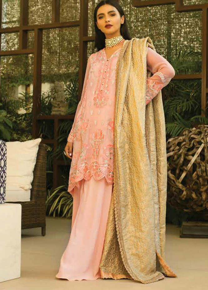 Mina Hasan Embroidered Chiffon Unstitched 3 Piece Suit MH20C 8 - Luxury Collection