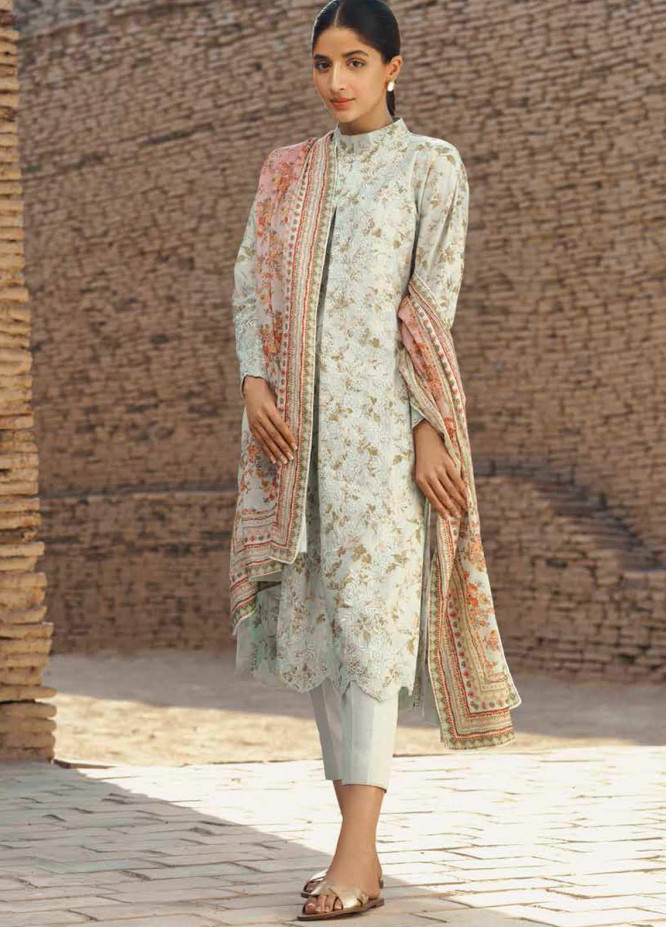 Mizaj By Tena Durrani Embroidered Lawn Suits Unstitched 3 Piece TD21M-2 18 Gardenia - Summer Collection