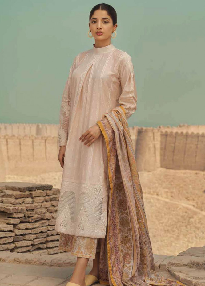 Mizaj By Tena Durrani Embroidered Lawn Suits Unstitched 3 Piece TD21M 01 Angora - Summer Collection