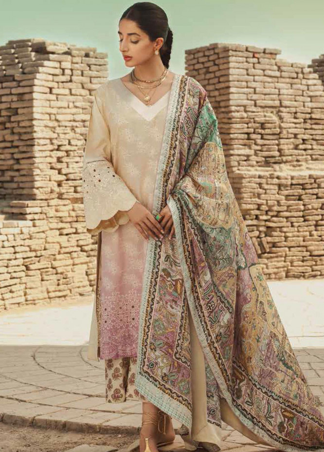 Mizaj By Tena Durrani Embroidered Lawn Suits Unstitched 3 Piece TD21M 08 Butter Cream - Summer Collection