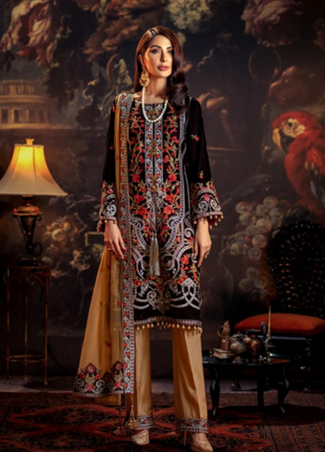 Mohagni Embroidered Velvet Suits Unstitched 3 Piece MO21EV MV-20-04 - Luxury Collection