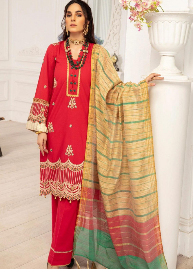 Mohagni Embroidered Lawn Suits Unstitched 3 Piece MO21LF MBD-21-01 - Summer Collection