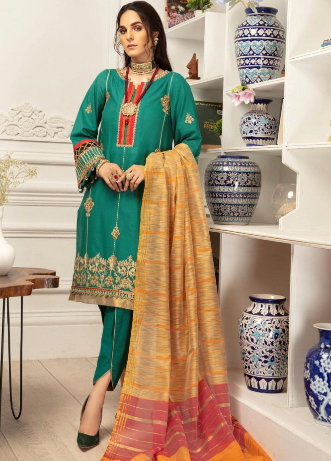 Mohagni Embroidered Lawn Suits Unstitched 3 Piece MO21LF MBD-21-02 - Summer Collection